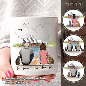 Personalized cat & couple coffee mug gift for cat mom dad lover owner - Opera - 2423
