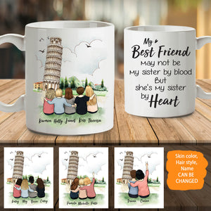 Personalized custom female best friend bestie sister birthday gift ideas coffee mug - Pisa - 2330