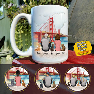 Personalized cat & couple coffee mug gift for cat mom dad lover owner - Golden Gate - 2423