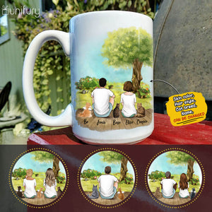 Personalized cat & couple coffee mug gift for cat mom dad lover owner - Porch view - 2423