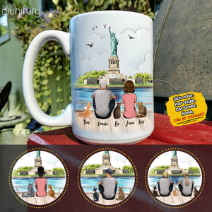 Personalized cat & couple coffee mug gift for cat mom dad lover owner - Statue of Liberty - 2423
