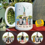 Personalized dog & couple coffee mug gift for dog mom dad lover owner - Statue of Liberty - 2339