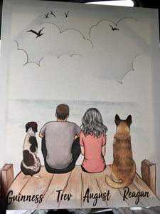 Personalized Dog & Couple Canvas Print - Gift for Dog lovers - Printed in USA - 2377