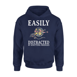 Easily Distracted By Knitting Needles - Premium Hoodie