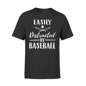Easily Distracted By Baseball - Premium Tee