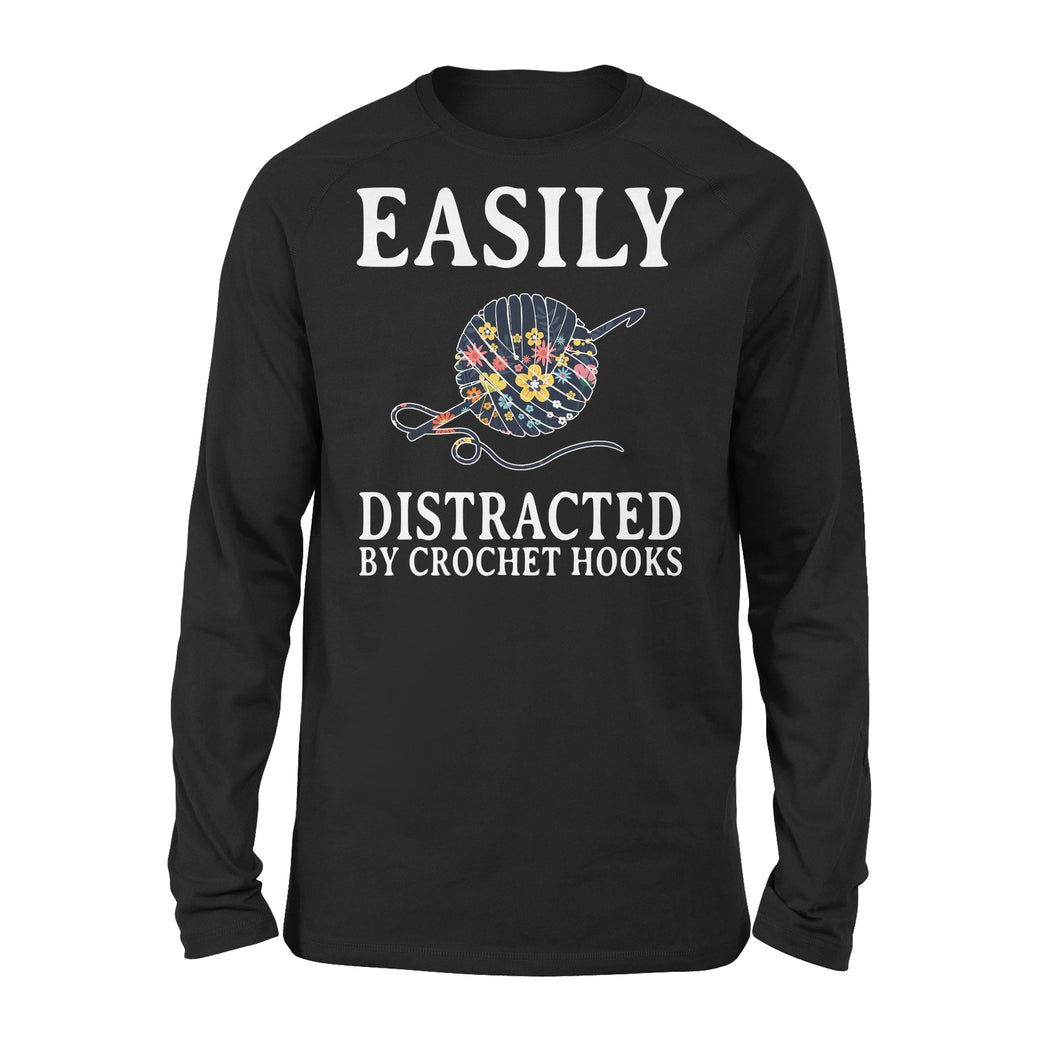 Easily Distracted By Crochet Hooks - Premium Long Sleeve