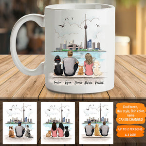 Personalized dog & couple coffee mug gift for dog mom dad lover owner - CN Tower - 2338