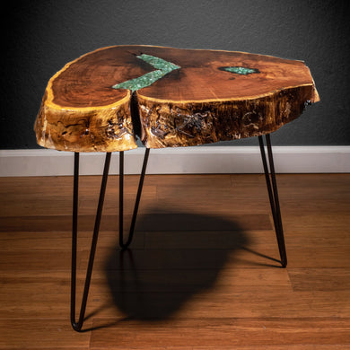 Live Edge Coffee Table with Green Aventurine Inlay - Spiritual Nexus