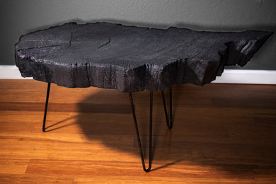 Shou Sugi Ban Live Edge Coffee Table with Amethyst Inlay - Spiritual Nexus