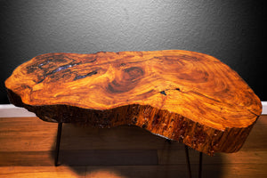 Live Edge Coffee Table with Amethyst Inlay - Spiritual Nexus