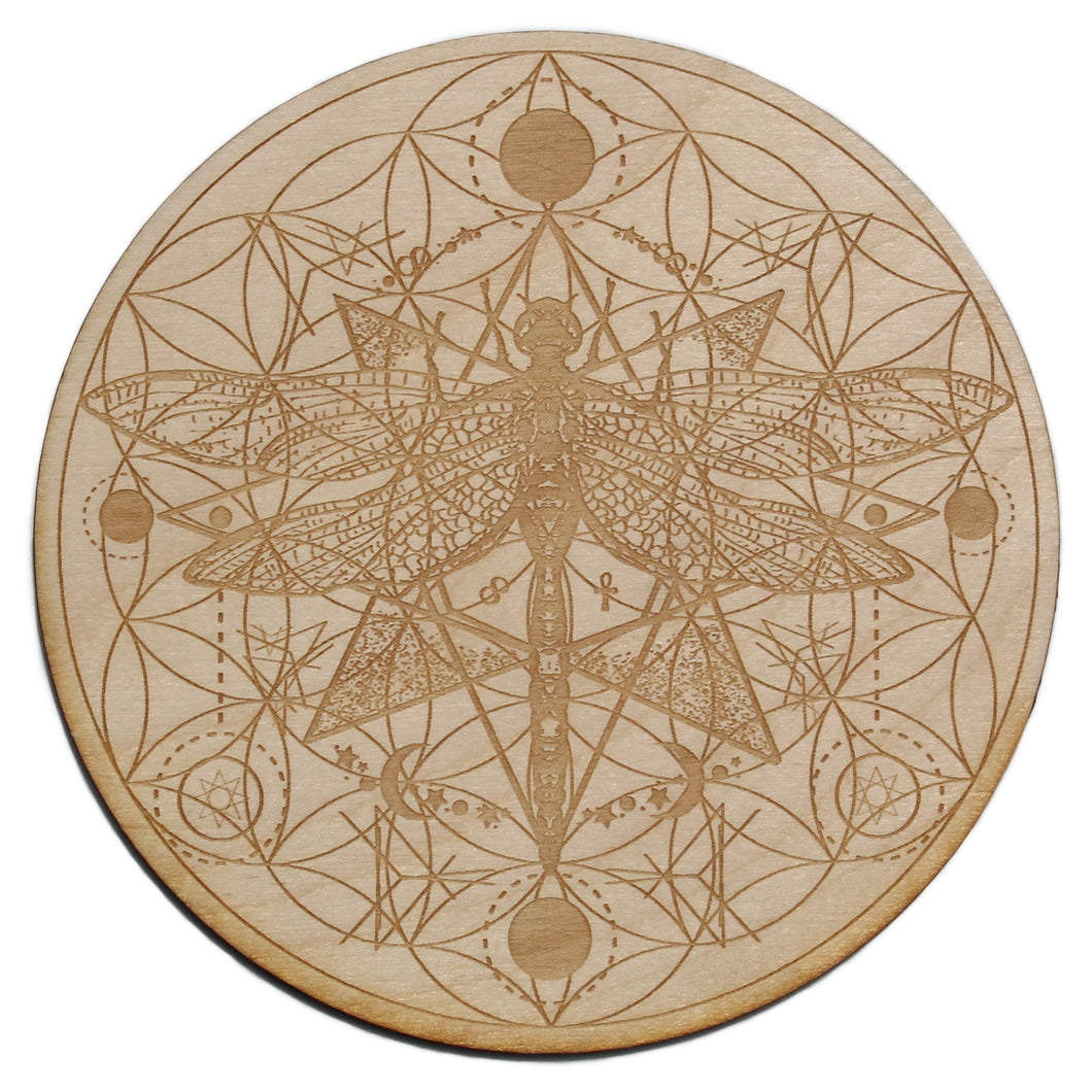 Dragonfly Flower Of Life Crystal Grid - Spiritual Nexus