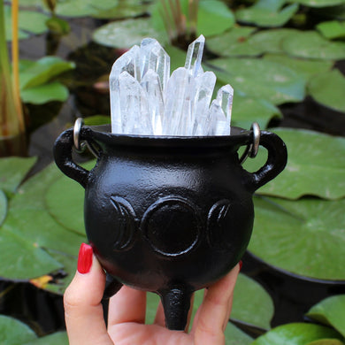 Mini Triple Moon Cast Iron Cauldron - Spiritual Nexus