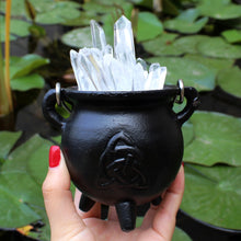Load image into Gallery viewer, Mini Triquetra Cast Iron Cauldron - Spiritual Nexus