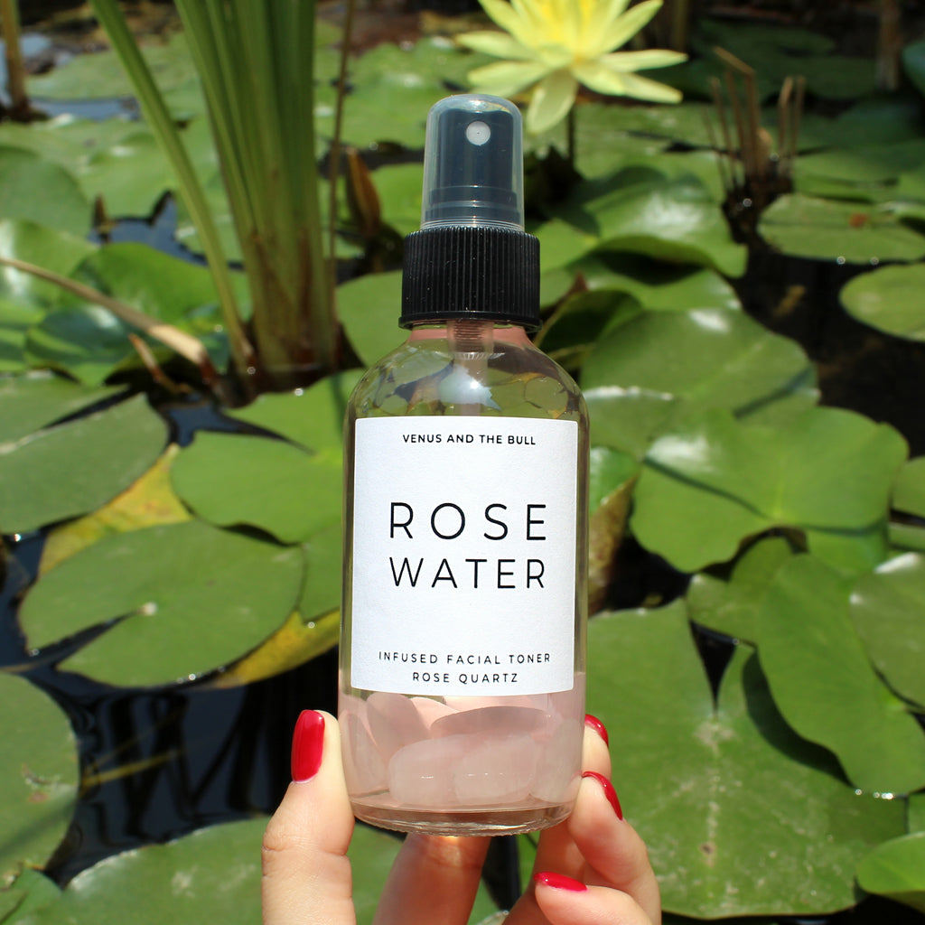 Rose Water Facial Toner - Infused with Rose Quartz - 4oz - Spiritual Nexus