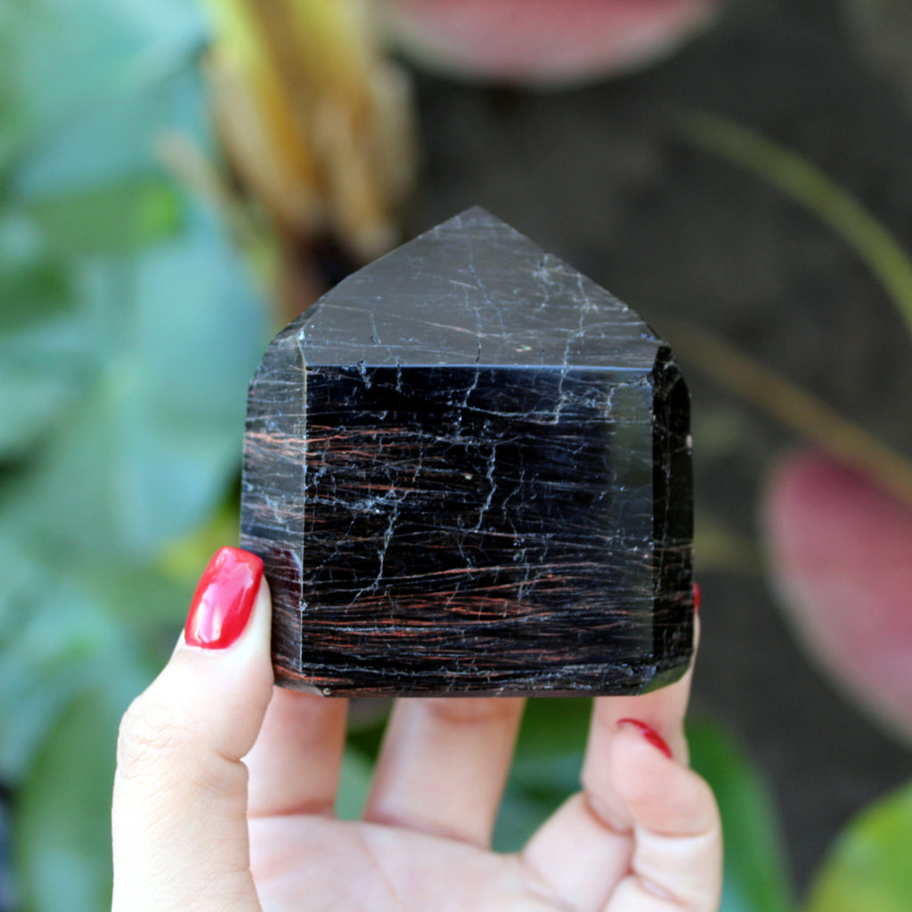Black Tourmaline and Hematite Tower - Spiritual Nexus