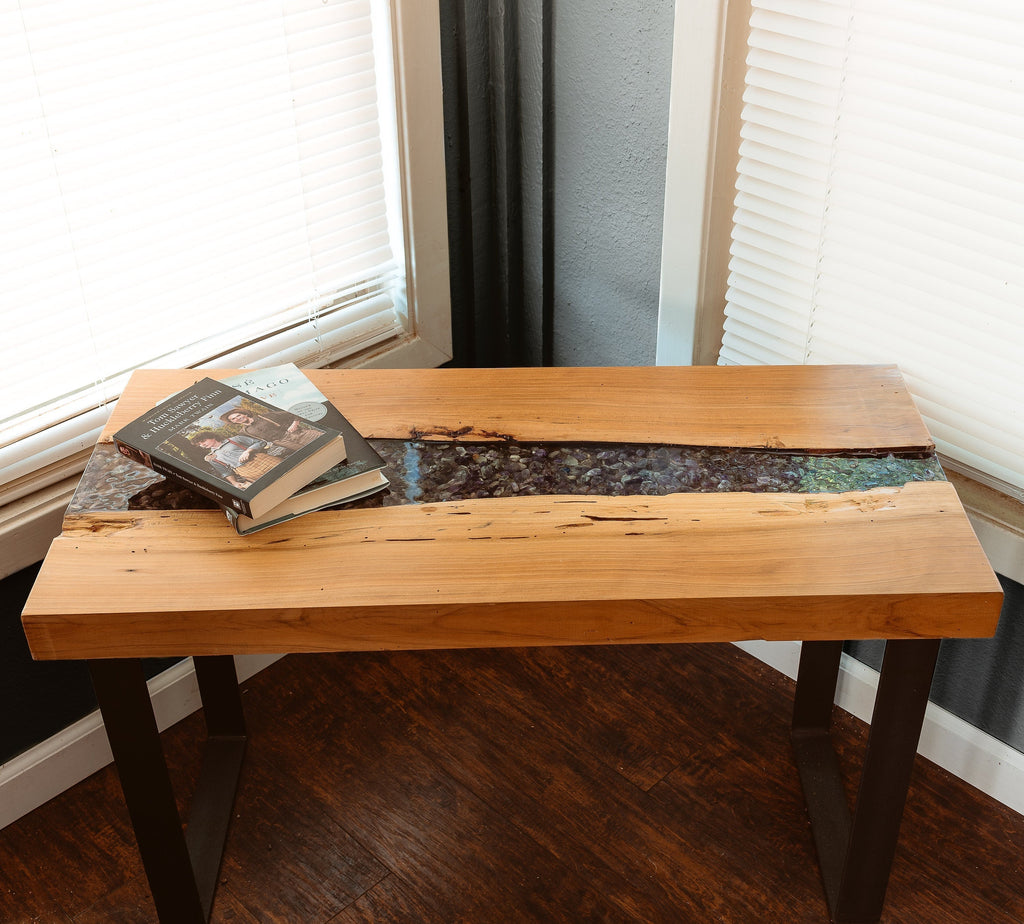 Live Edge Coffee Table with Amethyst Inlay
