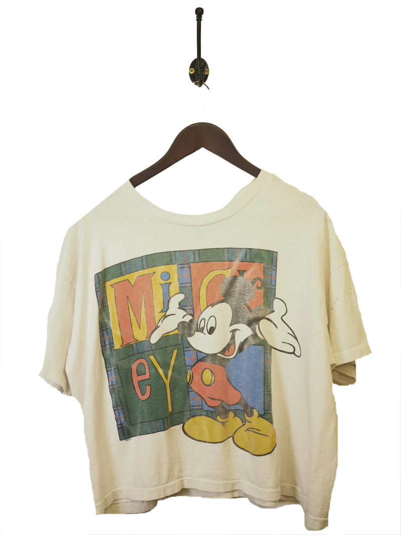 1990s Cropped Mickey Mouse T-Shirt - L