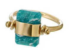 BEVELLED AMAZONITE SWIVEL RING - GOLD