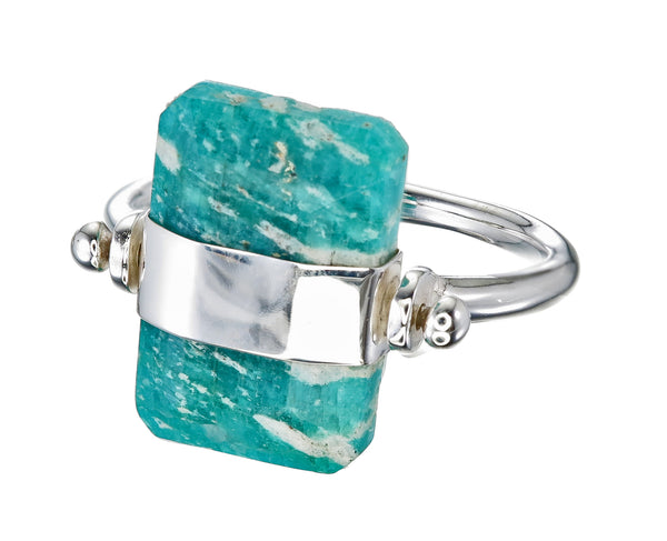 BEVELLED AMAZONITE SWIVEL RING -SILVER