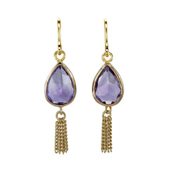 AMETHYST TEARDROP TASSEL PULL THROUGH - GOLD