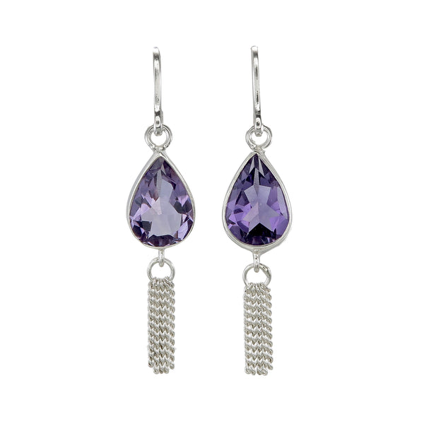 AMETHYST TEARDROP TASSEL PULL THROUGH - SILVER