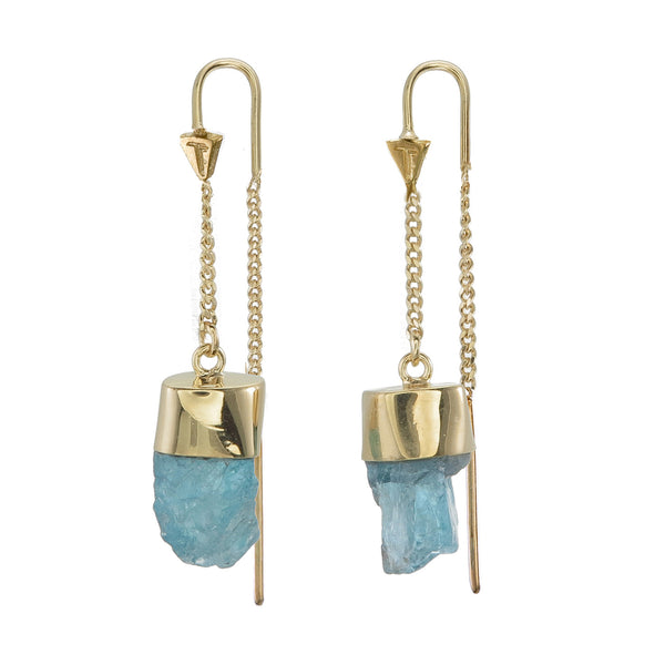 APATITE CRYSTAL PULL THROUGH EARRINGS - GOLD plated sterling silver by tiger frame jewellery
