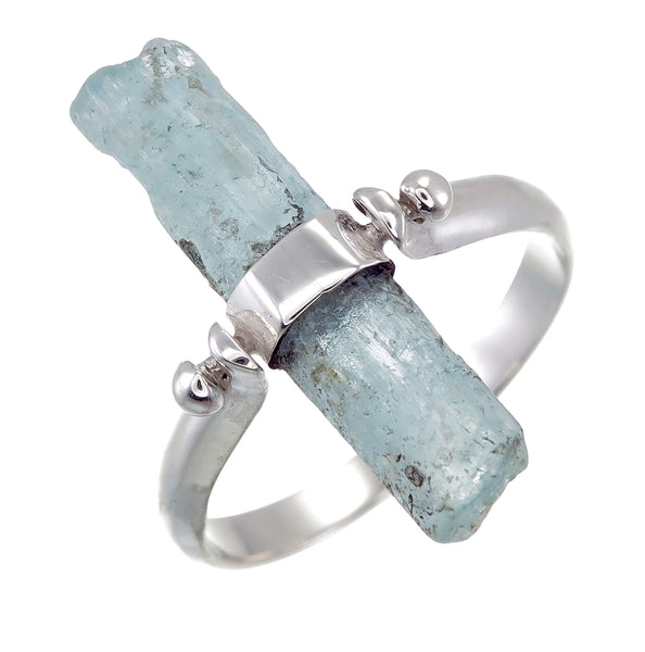 AQUAMARINE SWIVEL RING - SILVER