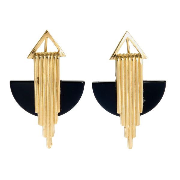 AURORA HALF MOON EARRINGS - BLACK ONYX - GOLD
