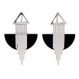 AURORA HALF MOON EARRINGS - BLACK ONYX - SILVER