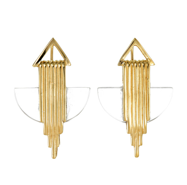 AURORA HALF MOON EARRINGS - QUARTZ - GOLD
