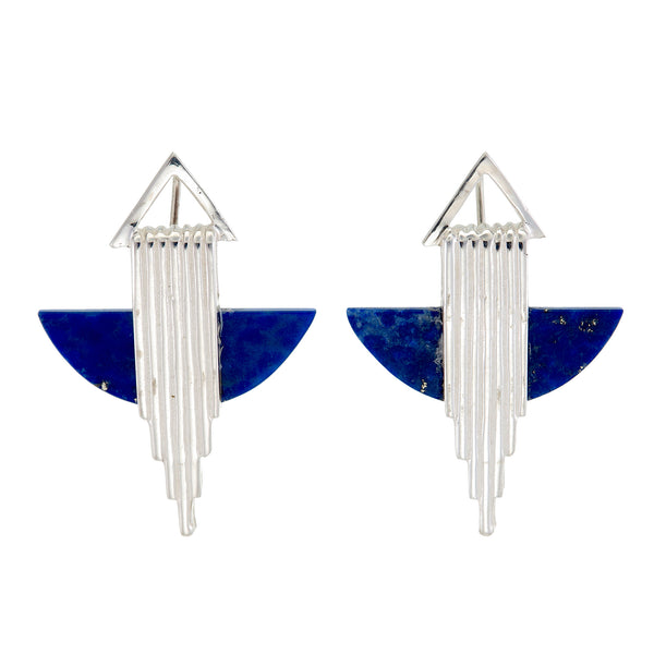 AURORA HALF MOON EARRINGS - STERLING silver with lapis lazuli by tiger frame jewellery