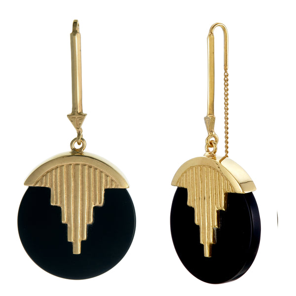 AURORA PENDULUM EARRINGS BLACK ONYX - GOLD