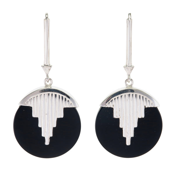 AURORA PENDULUM EARRINGS BLACK ONYX - SILVER