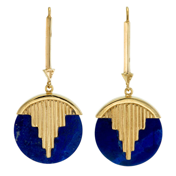 AURORA PENDULUM EARRINGS - GOLD plated sterling silver with lapis lazuli by tiger frame jewellery