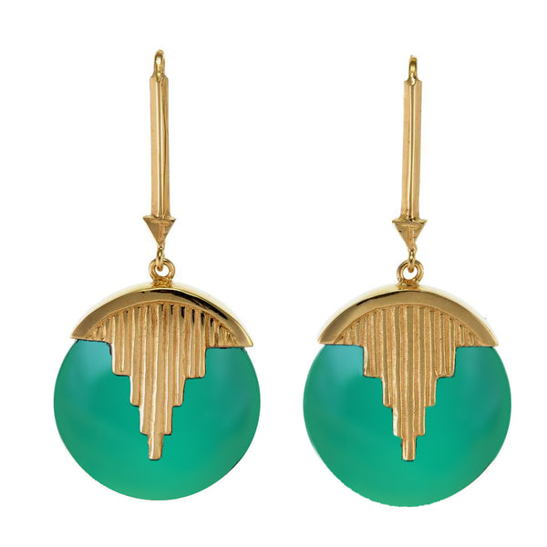 AURORA PENDULUM EARRINGS GREEN ONYX - GOLD