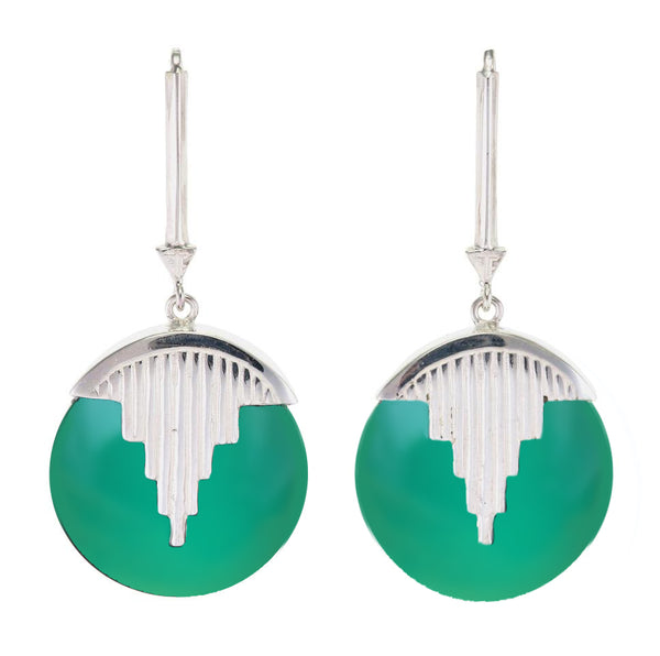 AURORA PENDULUM EARRINGS GREEN ONYX - SILVER