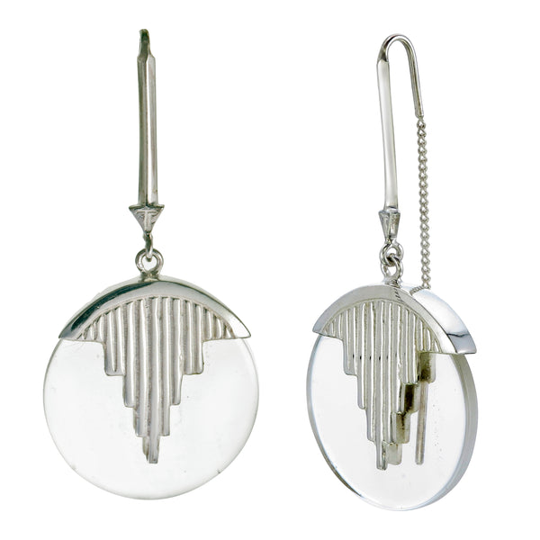 AURORA PENDULUM EARRINGS QUARTZ - SILVER