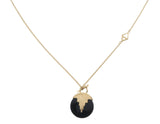 AURORA PENDULUM NECKLACE BLACK ONYX - MEDIUM - GOLD