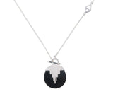 AURORA PENDULUM NECKLACE BLACK ONYX - MEDIUM - SILVER