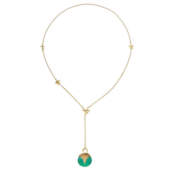 AURORA PENDULUM NECKLACE GREEN ONYX - GOLD
