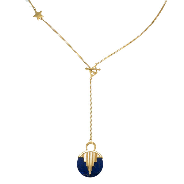 AURORA PENDULUM NECKLACE - GOLD plated sterling silver with lapis lazuli by tiger frame jewellery