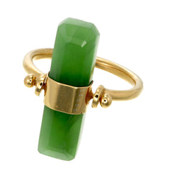 BEVELED GREEN AVENTURINE SWIVEL RING - GOLD