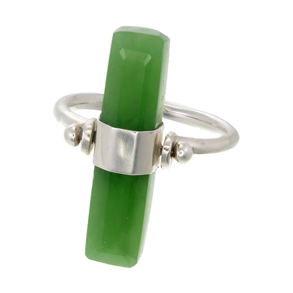 BEVELED GREEN AVENTURINE SWIVEL RING - SILVER