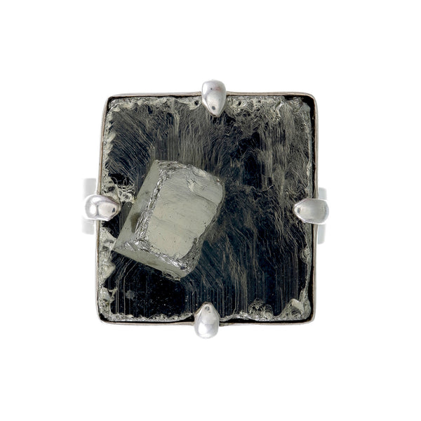 BIG PYRITE RING - sterling silver by tiger frame jewellery