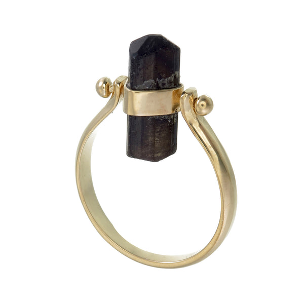 BLACK TOURMALINE SWIVEL RING - GOLD plated sterling silver by tiger frame jewellery