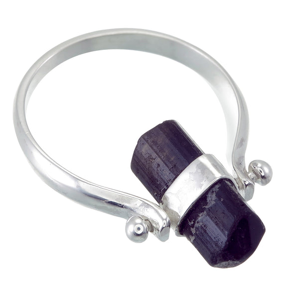 BLACK TOURMALINE SWIVEL RING - Sterling silver by tiger frame jewellery