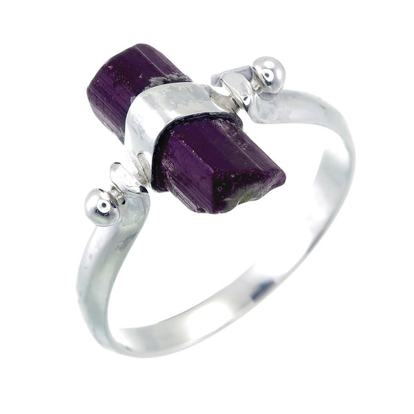 BLACK TOURMALINE SWIVEL RING - SILVER