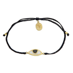 EYE PROTECTION BRACELET - BLACK - GOLD plated sterling silver by tiger frame jewellery