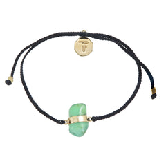 CHRYSOPRASE CRYSTAL BRACELET- BLACK- GOLD