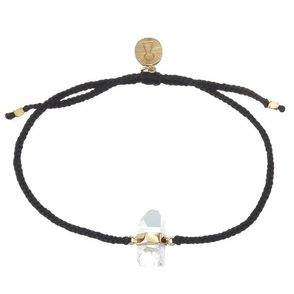 QUARTZ CRYSTAL BRACELET - BLACK - gold plate on sterling silver by tiger frame jewellery